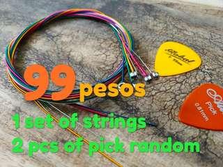 6pcs Colorful Strings For Acoustic Guitar