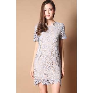 🚚 The Stage Walk Fleur Crochet Shift Dress in Dusty Blue