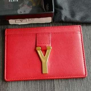 Red YSL Card Holder Saint Laurent Red CNY Name