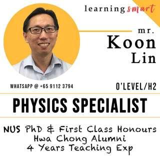 NUS PhD and  1st Class Hons - Physics Home Tuition
