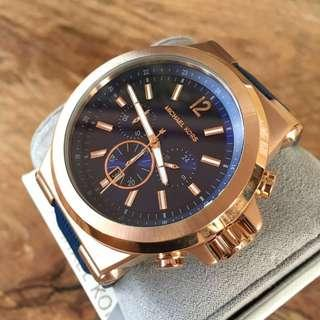 Michael Kors Dylan Rose Gold/Dark Blue Silicone Chronograph Men's Watch