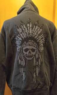 Black color vintage look hooded jacket