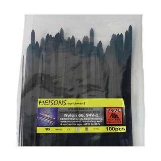 """Meisons cable tie BLACK 3.0mm x 200mm (8"""") 100pcs per pack"""
