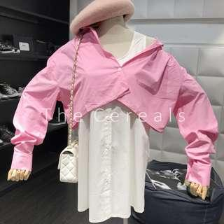 TC3277 Korea 2 In 1 Detachable Pink Outer Buttons White Dress