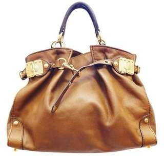 Real miu miu belted band slouchy brown leather tote
