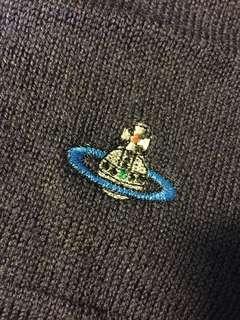 🚚 ☆Superme本舖☆Vivienne Westwood 羊毛長版圍巾 土星 logo 100%羊絨 紳士藍