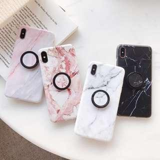 Instocks Ready Stocks Brand NEW Styles 4 Colors/Designs Marble I-Ring Stent Full Coverage HP Cover Case Casing - Samsung Galaxy S7, S7 Edge, S8, S8 Plus, S9, S9 Plus, Note 8 & Note 9