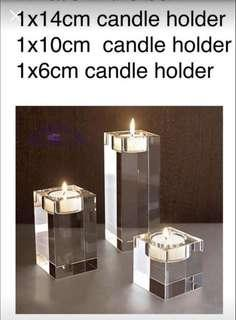 Set of 3 candle glass