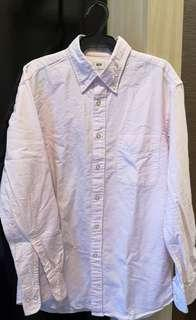 Uniqlo Men's Pink Linen Long Sleeved Polo
