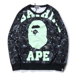 🚚 台灣門市購入 全新正品 A Bathing Ape BAPE 大學T 長袖 灰 夜光 螢光 M號 猿人 迷彩 猿人迷彩