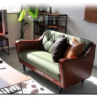 美式皮布藝梳化沙發 北歐經典復古雙人三人簡約皮藝沙發