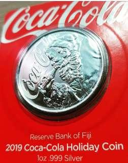 2019 1 oz Fiji Coca Cola Holiday Silver Coin (Proof-Like)