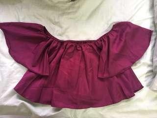 Maroon Off Shoulder Crop Top
