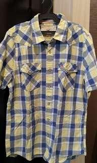 Hollister Men's Yellow/Blue Plaid Short Sleeved Polo