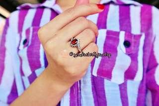 Ruby Engagement Ring Sterling Silver