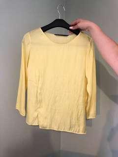 Yellow Silky Zara 3/4 Sleeves