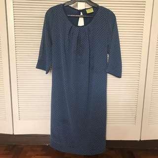 Preloved Navy Blue Polkadot Maternity Dress