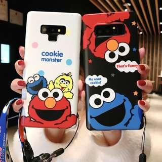 Brand New Instocks Ready Stocks 2 Designs Sesame Street Elmo Cookie Monster Big Bird Mobile Hand Cell HP Case Casing Cover with Detachable Lanyard - Samsung Galaxy S7 Edge, S8, S8 Plus, S9, S9 Plus, Note 8 & Note 9