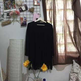 Long Sleeved Black Velvet Blouse w/ Ruffles