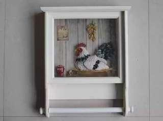 Lovely Rooster Kitchen Towel Wall Mount Holder
