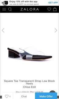 Clear block heels sandals