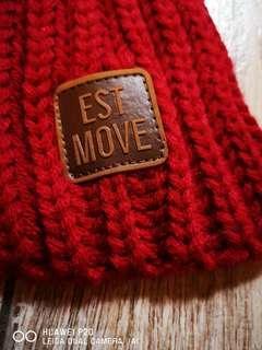 Est move手織毛線圍巾新年紅