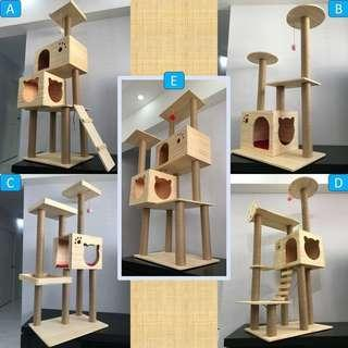 Premium Solid Wood cat condo tree scratch post sisal toy, not cage carrier bed