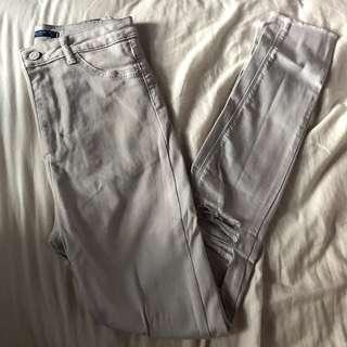 White Ripped High Waist Pants