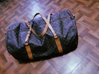 (已匯款待買家收件) Louis Vuitton 經典老花紋古董大旅行袋