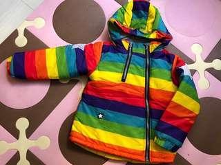 保暖防風厚棉兒童連帽外套 褸 彩虹