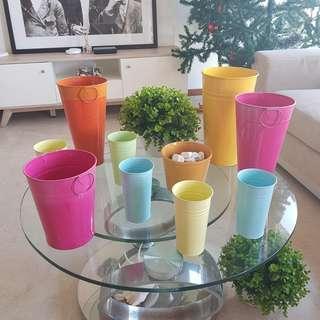 Pastel Colour Metal Flower Pots