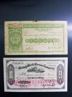 North Borneo old bank notes