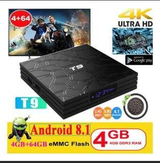 64GB Hiighest Spec T9 , TV Box Android 8.1 4GB + 32GB 4K Due Wifi . Bluetooth 4.0 1080P Media Player
