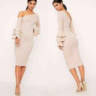 PrettyLittleThing One Shoulder Ruffle Long Sleeve Midi Dress in Nude