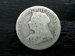 UK 1898 Shilling Queen Victoria Silver Coin