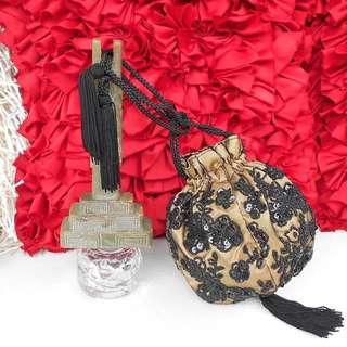 Black Rose Cocktail Bag Gold Black Lace Wristlet