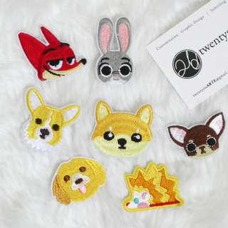 Iron On Patch | Animal Series 01 | Zootopia, Fox, Bunny, Dog, Hedgehog, Porcupine