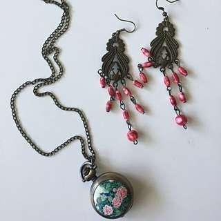 Romantic watch/mirror necklace & earings
