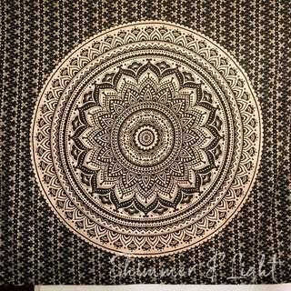 #10: Black Gold QUEEN SIZE Mandala Tapestry
