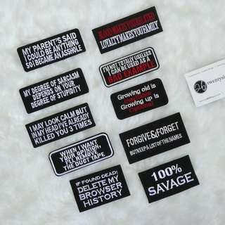 Iron On Patch | Wording Patch | Black Patch, Savage, Sarcastic,