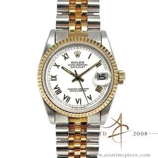 Rolex Midsize Datejust 68273 White Roman Dial Vintage Watch (Year 1984)
