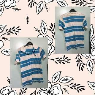 Abercrombie and Fitch Blue Lined Polo