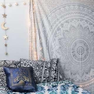 #4: White Silver QUEEN SIZE Mandala Tapestry