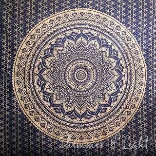 #19: Navy Gold QUEEN SIZE Mandala Tapestry