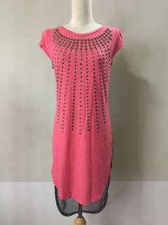 Pink Studded Long Fishtail Top