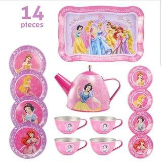 (T1) 14pcs Princess Baby Girl Children Stainless Steel Afternoon Tea Dessert Cake Teapot Teacups Cooking Toy Set in Organza Drawstring Bag