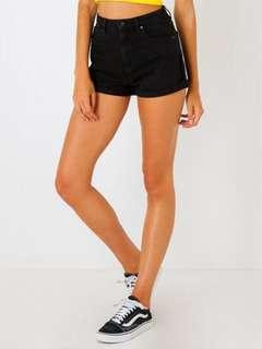 A Brand High Relaxed Black Denim Shorts Size 8