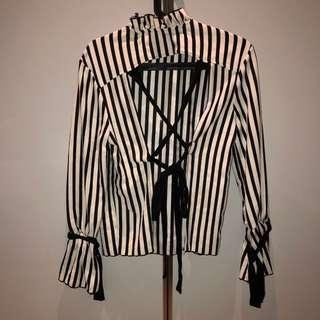 Zara Open Back Striped Blouse/Top