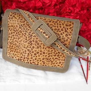 Unisex Leather Leopard Satchel Bag Large Saddle Bag