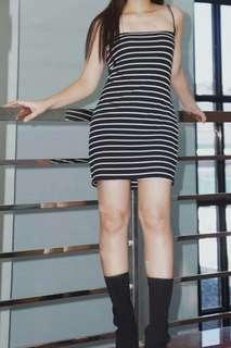 Cami Dress in Black Stripes